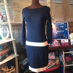 Elegant Navy knit Ralph Lauren honeycomb dress